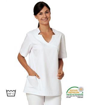 Blouse Médicale Blanche Femme, 2 poches latérales et 2 poches bipeur