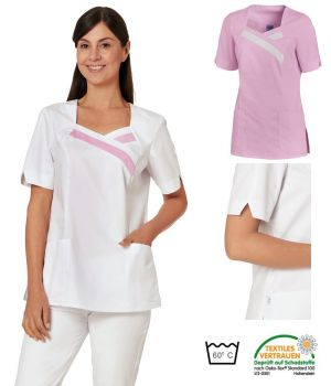 Blouse Médicale Femme, Bicolore, 2 poches latérales, Manches Courtes