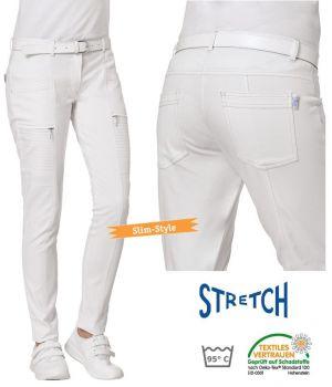 Pantalon Blanc Femme, Coupe Tendance Slim, Coton et Stretch