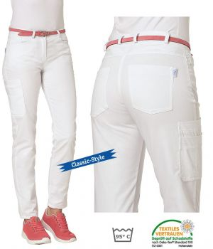 Pantalon Blanc Femme, 2 poches latérales et 2 poches arrière, Poche cuisse