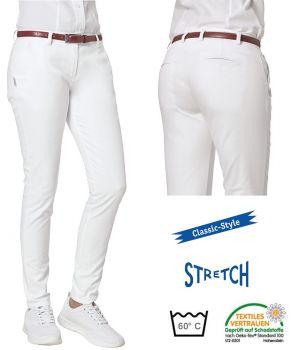 Pantalon Blanc Femme Chino, 2 poches latérales, 2 poches arrière, Stretch