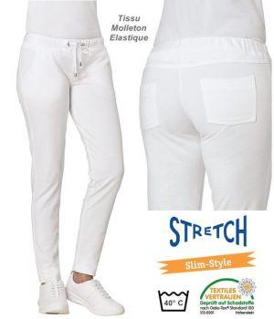 Pantalon Blanc Femme, Tissu Molleton Stretch, Taille élastique