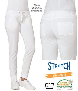 Pantalon Femme, Tissu Molleton Stretch, Taille élastique