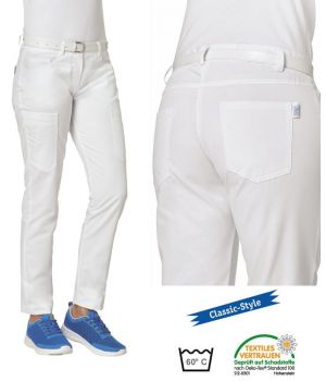 Pantalon Blanc Femme, Coupe Tendance, 5 poches, 2 poches sur cuisse