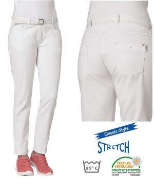 Pantalon Jean Blanc Femme, Stretch, 5 poches, Rivets, Peut Bouillir