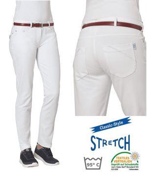Pantalon Blanc Femme, 5 poches, Rivets décoratifs, Stretch, Peut Bouillir