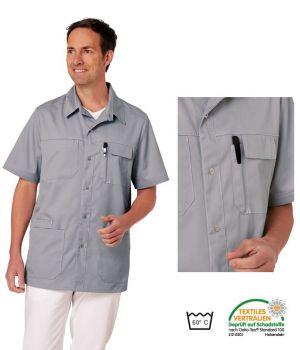 Blouse Médicale Homme, Gris clair, Boutons Pression, 2 poches poitrine
