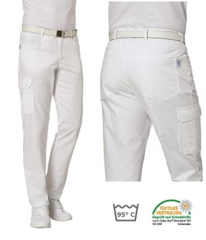 Pantalon Médical Blanc Homme, 5 poches et 2 poches cuisse, Peut Bouillir