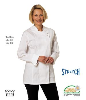 Veste de Cuisine Femme, Tissu Confort Stretch, Pressions sous patte
