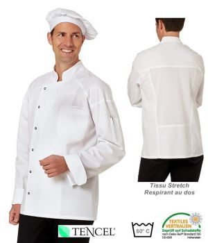 Veste de Cuisine Blanche, Tissu Stretch respirant au dos, Boutons Pressions