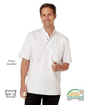 Chemise de Cuisinier Blanche, Col avec bouton pression, Peut Bouillir