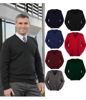 Pull homme, col V, laine mérinos et acrylique, traité Téflon anti taches