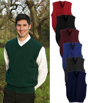 Pull homme, sans manches, débardeur, laine mérinos et acrylique, traité Téflon
