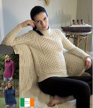 Pull Femme Irlandais, Col roulé à torsades, Motif Coeur et Nid d'abeille