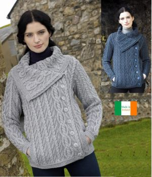 Veste Irlandaise pour Femme, Col chunky, Torsades, 2 poches