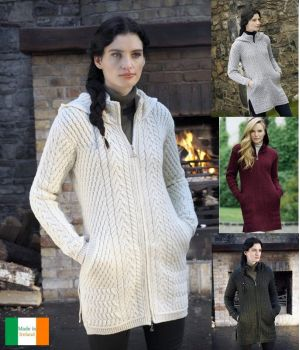 Manteau Irlandais pour Femme, Cardigan avec capuche, Laine Mérinos