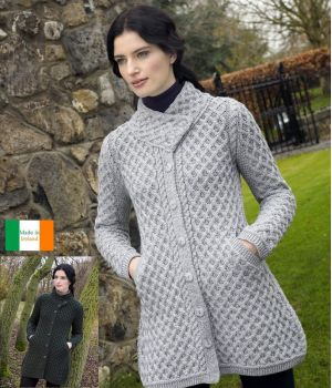 Magnifique Manteau Irlandais 3/4 pour Femme, Laine Mérinos extra douce