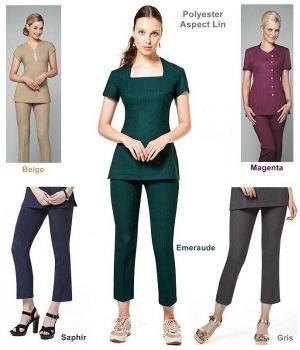 Pantalon femme 7/8, Polyester aspect Lin, Entretien facile, peu froissable