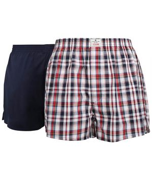Boxer Shorts Tissé, 100% Coton Popeline, un Rouge et Gris et un Marine