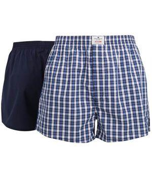 Boxer Shorts Tissé, 100% Coton Popeline, un Bleu et Gris et un Marine