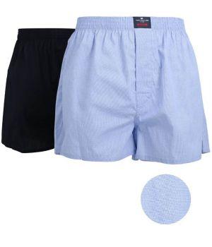 Boxer Shorts Tissé, 100% Coton Popeline, un Bleu clair et un Marine
