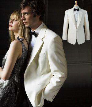 Veste blanche de smoking, cérémonie, Homme, Revers et poches en satin