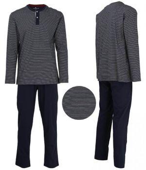 Pyjama Coton, Haut à rayures horizontales Blanc et Marine, Bas Marine uni