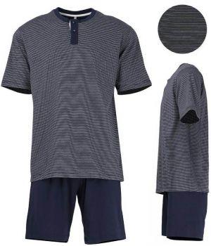 Pyjama Coton, Haut à rayures horizontales Blanc et Marine, Short Marine uni