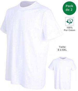 T-shirt, Maillot de corps Homme, 100% Coton, Blanc, Col rond, Pack de 2