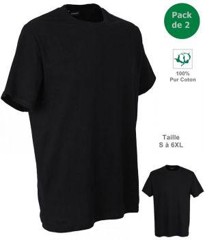 T-shirt, Maillot de corps Homme, 100% Coton, Noir, Col rond, Pack de 2
