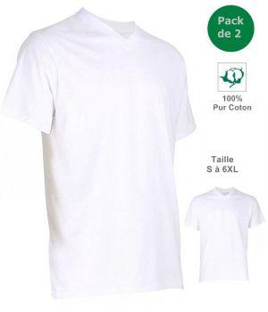 T-shirt, Maillot de corps Homme, 100% Coton, Blanc, Col V, Pack de 2