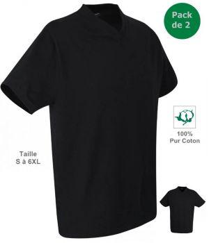 T-shirt, Maillot de corps Homme, 100% Coton, Noir, Col V, Pack de 2