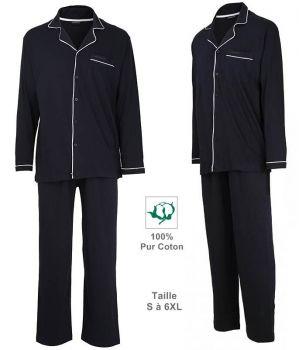 Pyjama Homme, Col en V, Top avec fermeture à boutons, Couleur Marine