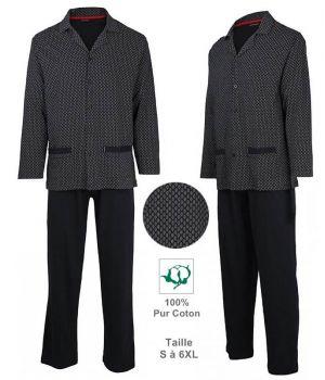 Pyjama Homme, Col en V, Top avec fermeture à boutons, Coton Jersey