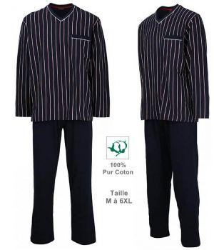 Pyjama Homme, Haut rayé Marine et blanc, Pantalon Marine, 100% Coton