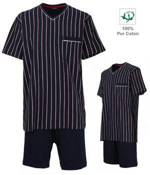 Pyjama Homme, Haut rayé Marine et blanc, Short Marine, 100% Coton
