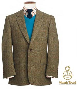Veste Harris Tweed, Vert Olive chevrons, carreaux Orange, Marine, Rouge