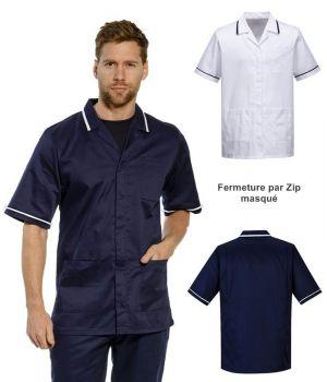 Blouse Médicale Homme, Zip sous patte, 2 poches latérales, Poche poitrine