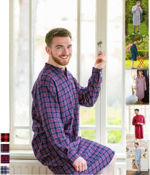 Chemise de nuit Homme et Femme, 100% Coton Flanelette peignée