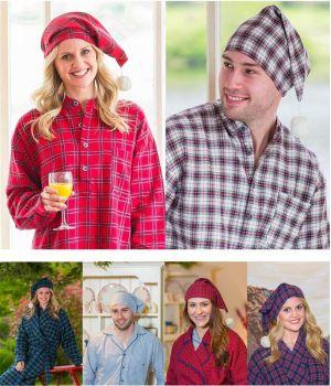 Bonnet de nuit en Flanelle Femme ou Homme, 100% Coton Ultra Doux