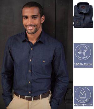 Chemise Homme, Coupe Ajustée, Poche Poitrine Boutonnée, Bleu Denim