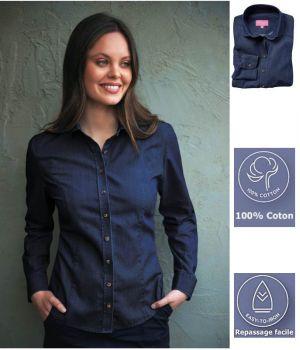 Chemisier Femme, Manches Longues, Coupe Ajustée, Bleu Denim