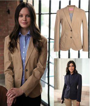 Veste Chino Femme, Coupe Ajustée, Coton et Stretch Confort