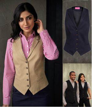 Gilet Chino Femme, 5 boutons, 2 poches devant, Coton et Stretch Confort