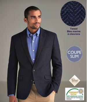Veste Tweed Homme, Coupe Slim, Bleu Marine à Chevrons