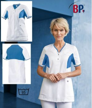 Blouse Médicale Femme, Empiècements en Piqué, Blanc et Bleu azur