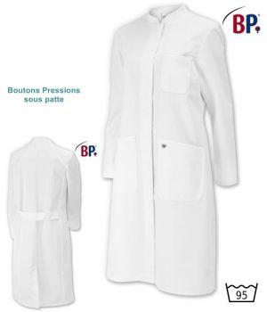 Blouse Blanche Médicale Femme Manches Longues, 100 % Coton