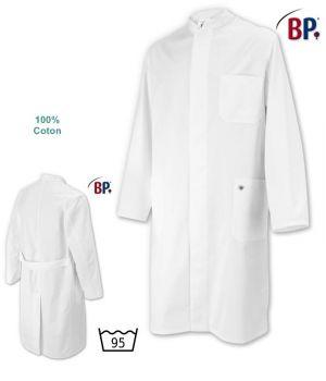Blouse Blanche Homme, Boutons sous patte, 100% Coton, Peut Bouillir à 95 °C