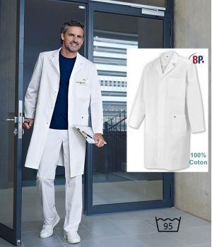Blouse Blanche Homme, Tissu Confort, 100% Coton