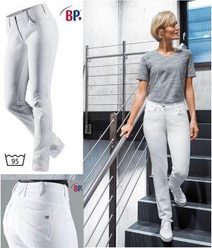 Jean 5 poches Blanc Femme, Tissu Bi-Stretch, Liberté de Mouvement